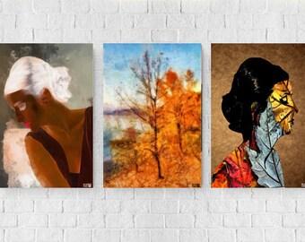 set of 3 three digital artworks,print,digital artwork,wall-decoration,illustration, portrait,Digital Drawing ,Watercolour Painting,Pop Art,