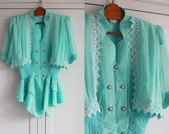 1970s Vintage french blouse / shirt Elegant turquoise button down shirt Retro 70s lace and frills Women clothing / Small size