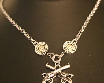 Handgun And Bullet metal textured necklace set