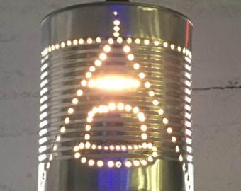 Upcycled 10'r Tin Can Pendant Lamp