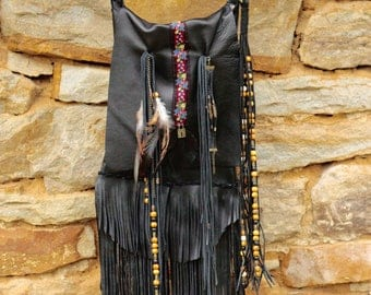 Black leather boho bag, bohemian bag with fringe, gypsy fringe cross body bag, vintage fringed boho handbag, handmade upcycled hippie bag