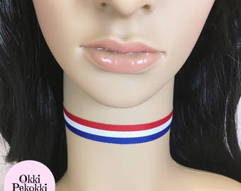 Red, White and Blue Choker Necklace.