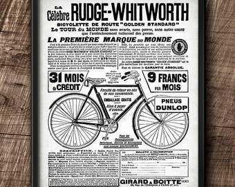 Bicycle · Rudge-Whitworth · Advertisement · 1900s · Vintage · French · Instant Download · Printable #163