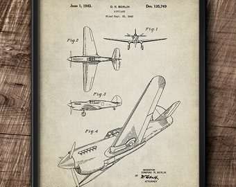 Airplane · D.R. Berlin · Patent · 1943 · Printable · Aviation · Vintage · Instant Download #199
