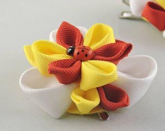Kanzashi hair clip. Set of 2 hair clips.