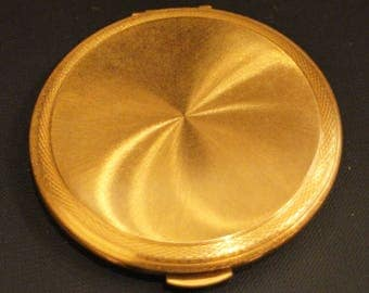 New, 60's, KIGU, old and rare vintage powder compact in gold, vintage/manufacturing English/powder powder compact with mirror