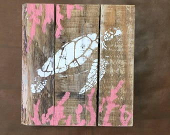 Sea Turtle Art, Sea Turtle Pallet Art, Sea Turtle wood art, Turtle painting, Coastal Decor, Beach Decor
