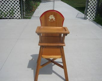 Vintage  Lehman Wood High Chair Child's  Maple Excellent Condition Solid Wood