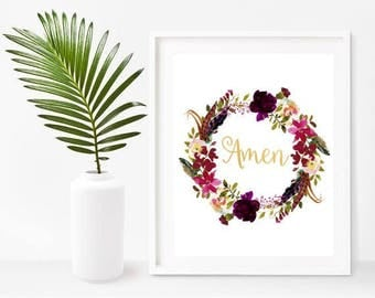 Floral Quote, Amen, Scripture Printable, Christian Prints, Printable Wall Art, Instant Download, Home Decor, Wall Decor