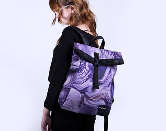 Hipster Rucksack,Women Backpack,Canvas Backpack,Gift for Her,Small Backpack,Purple Backpack,Vegan Backpack,Waterproof Backpack,Roll Top