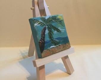 """Mini Beach Painting, 2x2"""", acrylic on canvas"""