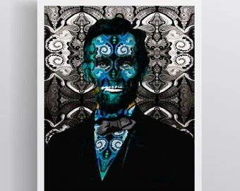 Abraham Lincoln Poster, Abraham Lincoln Multi-Colored Pop Art Gift, Abraham Lincoln Fine Art