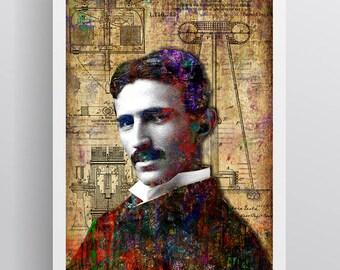 Nikola Tesla Poster, Nikola Tesla Gift, Nikola Tesla Colorful Layered Tribute Fine Art