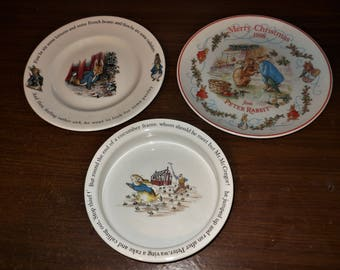 3 Wedgwood Peter Rabbit Dishes Plates - Beatrix Potter Designs Made In England