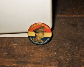 1947 The Man of the Hour General Douglas MacArthur 1 1/4 Inch Vintage Image Button Pin