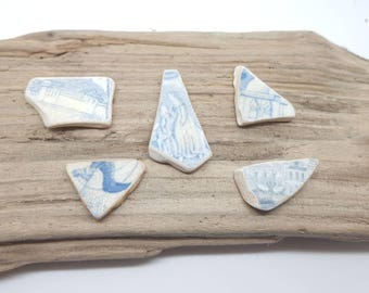 Collection of sea worn pottery,pottery scenes,jewelery quality,swans,people,horse,dog,rare beach pottery finds,Scottish beach finds.