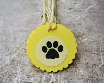 Dog Birthday Party Treat Bag Tags Set of 10 Yellow and Cream with Paw Print