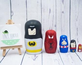 Superhero nesting dolls, stacking dolls, russian dolls, room decoration, birthday gift, wooden dolls, matryoshka, babushka