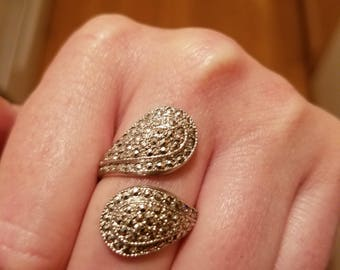 Vintage Marcasite and Sterling silver spoon ring