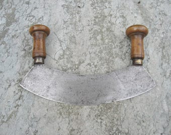 A Nice Old French Two Handled Herb Chopper / Hachoir