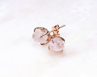 Rose Gold Rose Quartz Earrings. Rose Quartz Stud Earrings. Bridesmaid Gift. Wedding. Bridal Jewelry.
