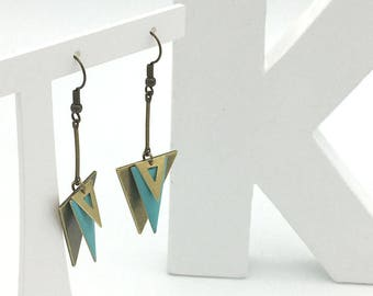 Blue and bronze TRIANGLE earrings