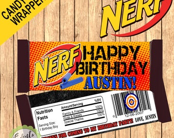 Nerf Custom Candy Bar Wrapper, Nerf Custom Wrapper, Nerf Custom Favors,- PRINTED & SHIPPED or DIGITAL file