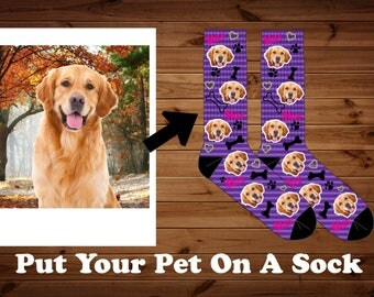 Pet Photo Socks, Dog And Cat Photo Socks, Your Dog On A Sock, Funny Socks, Pet Lovers Socks, Custom Photo Pet Socks, Animal Lover Gifts, Dog