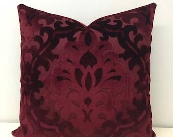 Burgundy Velvet Throw Pillows, Red Pillows, Velvet Pillow Covers, Cushions, Decorative  Pillows