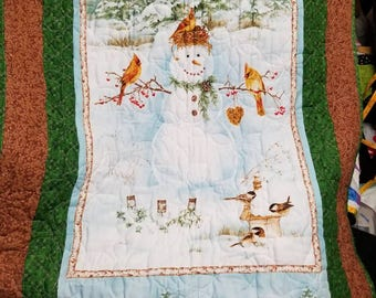 Red Bird & Snowman Winter Scene lap robe or wall hanging