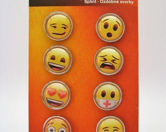 Set of 9 big brads - emoji - faces - smile - sad - heart