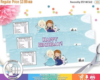 ON SALE Frozen Water Bottle Label, Elsa Anna Olaf Water Bottle Label, Frozen party supplies, Birthday Party Decorations, INSTANT Download