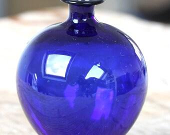 Vintage Mini Blue Decorative Bottle, Blue Mini Vase, Handblown Glass bottle, UNUSED
