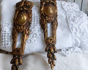 Antique ormolu pair French bronze pediments Furniture mount Hardware Ornate laurels