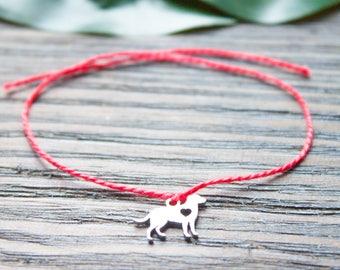 Dog Person Bracelet Red String of Fate Dog Owner Bracelet Dog Lover Gift Wish Bracelet Silver Puppy Charm Kabbalah Bracelet Her Red String