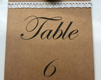Vintage Wedding Table Number Card with Handmade Roses - Wedding Stationary - Table Numbers - Rustic - Vintage - Shabby Chic