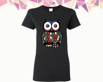 Abstract Owl T Shirt Owl Shirt Tees Abstract Owl T-shirt Animal Shirt Women's T-shirt Ladies Shirt Tees Party Shirt Tees Gift For Him
