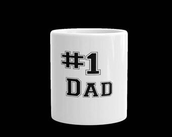 number 1 dad coffee mug -number one dad tea mug-coffee mug-tea mug -coffee cup-gift mug and cup-white mug  coffee cup