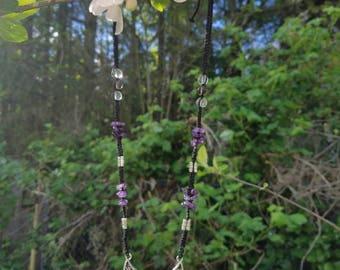 Clear quartz, smoky quartz, and amethyst chip adjustable necklace