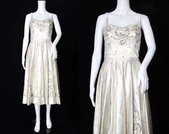1950s Ivory Satin Beaded Dress