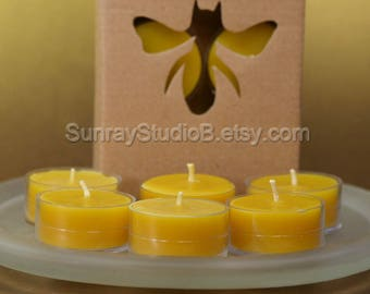 Beeswax Tealight  Candle 6 pack and 4 pack, 100% natural beeswax, cotton wicks, non allergenic, Eco friendly, non toxic, clean burning