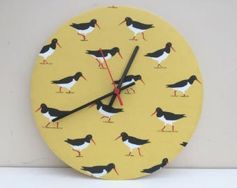 Fabric Clock, Oystercatchers on yellow background, 12 inches / 30cm diameter