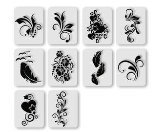 120 airbrush nail art stencils adhesive in the set