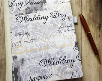 Wedding Planning Journal — Gift for Bride — Wedding Planner — Gift of Mother of the Bride — Fabric Covered Grid Planner — Bridal Party