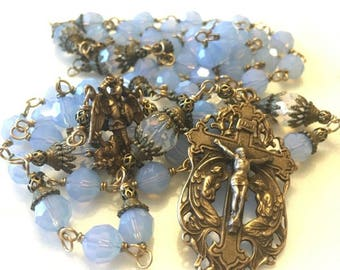 St Michael and angels rosary. Wire-wrapped Swarovski Air Blue Opal 8mm crystal Antique bronze rosary