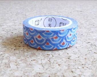 Washi tape japanese blue design Red and bleu circles masking adhesive paper for scrapbooking