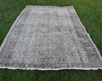 Pale Colored Anatolian Free Shipping Oushak Rug 5.8 x 9.2 feet Decorative Rug Floor Rug Bohemian Area Rug Rustic Boho Rug Code244