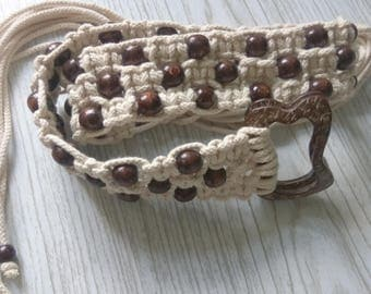 White Belt,Wooden Beads,White MACRAME Belt,Braided belt,Handmade belt,cotton Belt,for her,gift for her,Accessory for the holiday,Summer belt