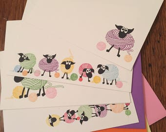 5 Sheep Stationary Flat Cards,  Sheep Card Set