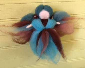 Felted Fairy, Wool fairy, Fairy Ornament, Brown and Blue felt fairy